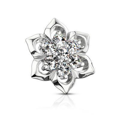 Ancre dermal avec une fleur en or 14 carats et 7 pierres au centre
