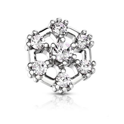 Dermal anchor hexagonale avec des pierres