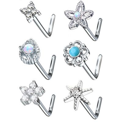 Pack de 6 piercings au nez